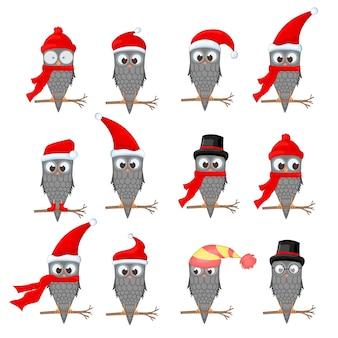 Vector set of christmas owls