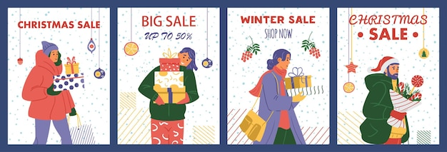 Vector set of christmas sale cards with happy people holding gift boxes.