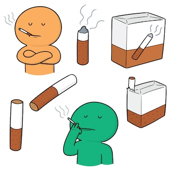 Vector set of cigarettes