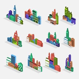 Vector set city building