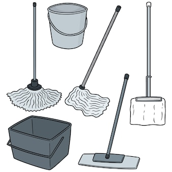 Vector set of cleaning mop