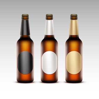 Vector set of  closed blank glass transparent brown bottles
