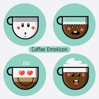 Vector set of coffee cup emoticons. collection with different expressions. flat design.