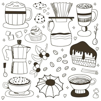 Vector set of coffee doodle, doodle coffee background. coffee elements. coffee time set
