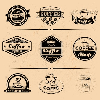 Vector set of coffee labels, design elements, emblems and badges. isolated logo illustration in vintage style. templates collection.