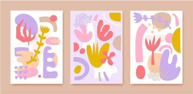 Vector set of collage pattern covers, backgrounds, posters, brochures, banners. hand drawn various shapes and doodle objects. abstract contemporary modern trendy illustration.