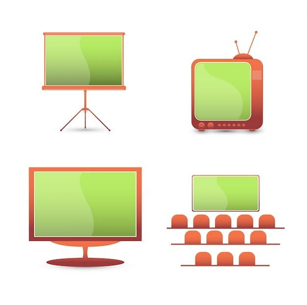 벡터는 컬러 아이콘을 설정합니다. tv 모니터