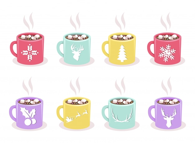 Vector set of color mugs with hot cocoa, marshmallow, winter holidays symbols, isolated. christmas and new years design elements