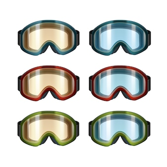Vector set of colored blue, orange ski snowboard goggles front view isolated on white background