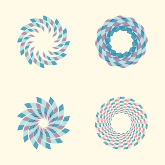 Vector set of colored round abstract signs.
