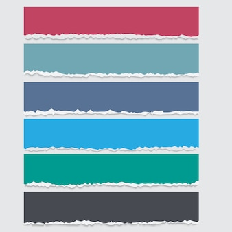 Vector set of colored torn paper banners with space for text