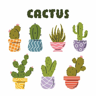Vector set of colorful cactus plants in colored pots with outlines
