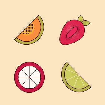 Vector set of colorful cartoon pieces of fruits icon