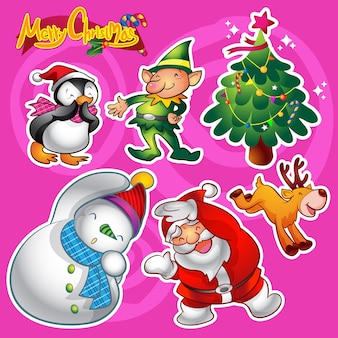 Vector set of colorful cute christmas characters and decorations