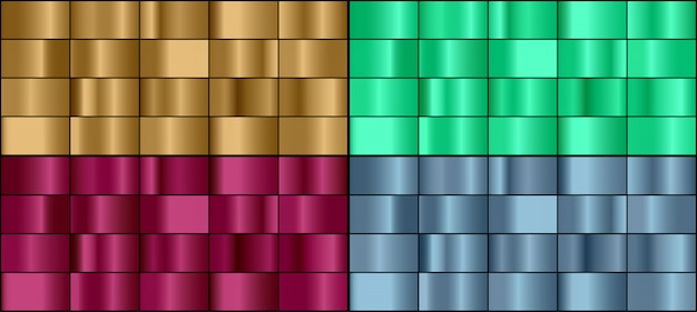 Vector set of colorful metal gradients.