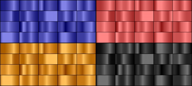 Vector set of colorful metal gradients