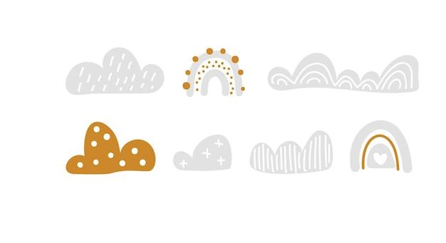 벡터는 구름과 함께 화려한 무지개를 설정합니다. 파스텔 색상입니다. 귀여운 아기 그림입니다. 아이 배경 손으로 그린