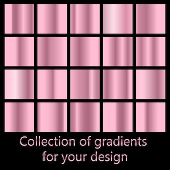 Vector set of colorful rose gold metal gradients.
