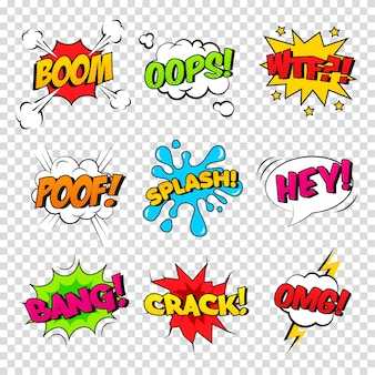 Vector set of comic sound effects. cartoon speech bubble with phrase boom, splash, wtf, poof, bang, oops, crack, omg, hey.