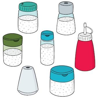 Vector set of condiment bottle