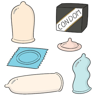 Vector set of condom