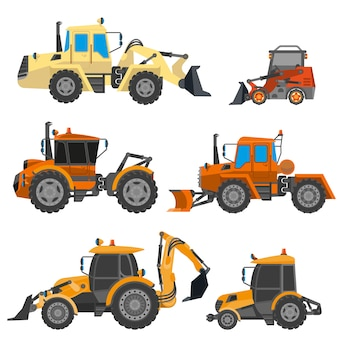 Vector set of construction equipment