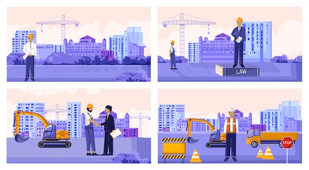 Vector set of construction workers with vehicles and buildings