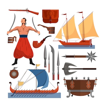 Vector set of cossacks objects, design elements in flat style. cossack man, weapons, boats, drum.