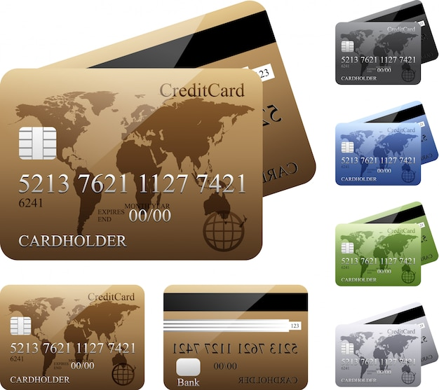 Vector set of credit cards