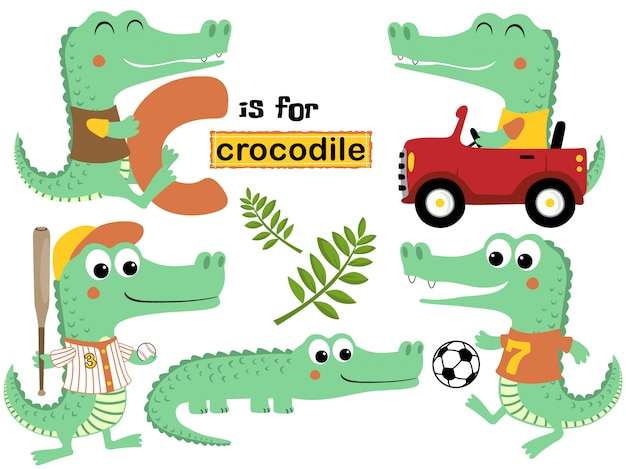 Vector set of crocodile cartoon with various activity