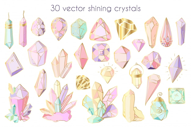 Vector set of crystals or gems, isolated objects on white