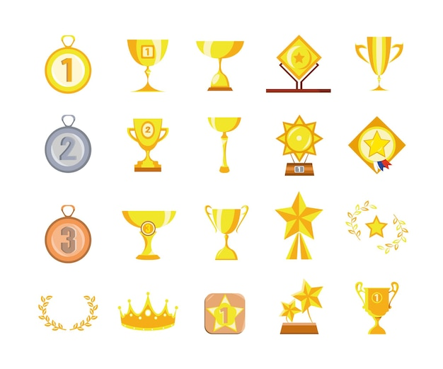 Vector set of cups and medals