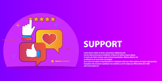 Vector set of customer service in flat style - feedback, survey and support