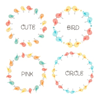 Vector set of cute bird round frames for decoration.