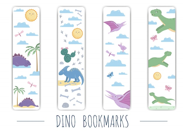 Vector set of cute bookmarks with cute colorful dinosaurs.