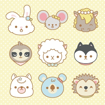 Vector set of cute cartoon animals isolated - vector