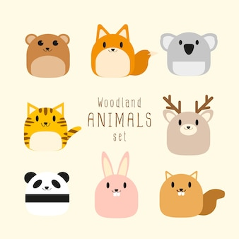 Vector set of cute chubby woodland animals.