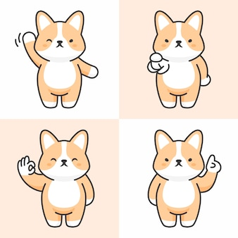 Vector set of cute corgi characters