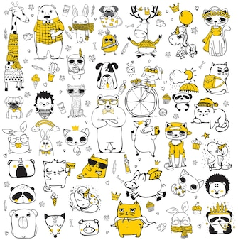 Vector set of cute doodle hipster animals. perfect for greeting cards design, t-shirt prints and kid's posters.