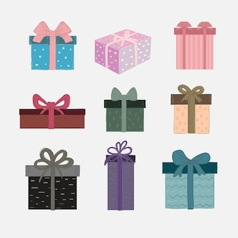 Vector set of cute gift boxes