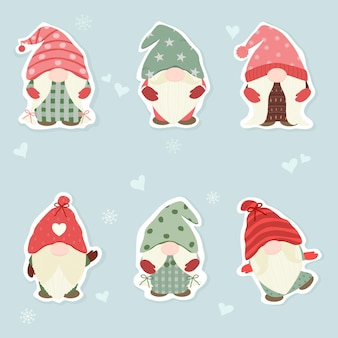 Vector  set of cute gnome on christmas concept with mini hearts and snowflake holiday season