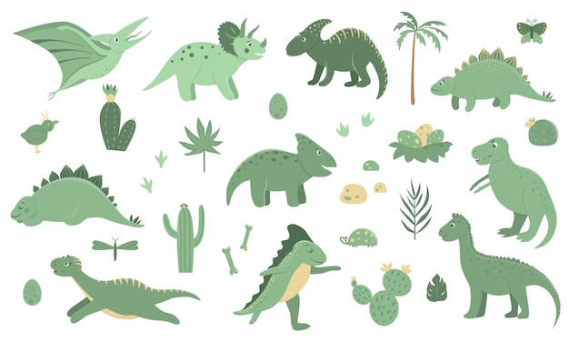 Vector set of cute green dinosaurs with palm trees, cactus, stones, footprints, bones for children.