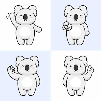 Vector set of cute koala characters