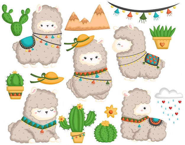 A vector set of cute llama and many cactus