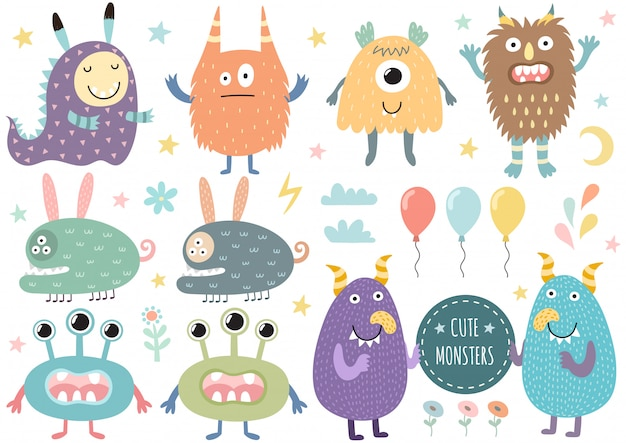 Vector set of cute monsters