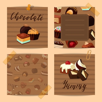 Vector set of cute notes with cartoon sweet chocolate candies illustration