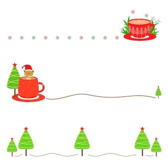 Векторный набор милый кофе или шоколадной чашки и рождественской елки с линией xmas концепции