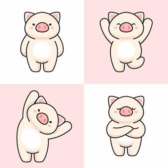 Vector set of cute pig characters
