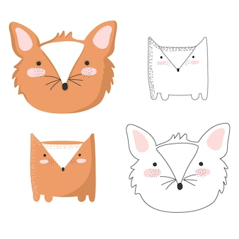 Vector set of cute postcards with funny animals poster with adorable objects on background