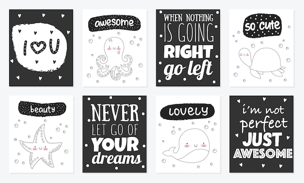Vector set of cute postcards with funny sea animals poster with adorable marine objects